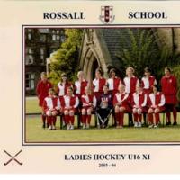 Ladies Hockey U16 XI Team Photograph 2003-4